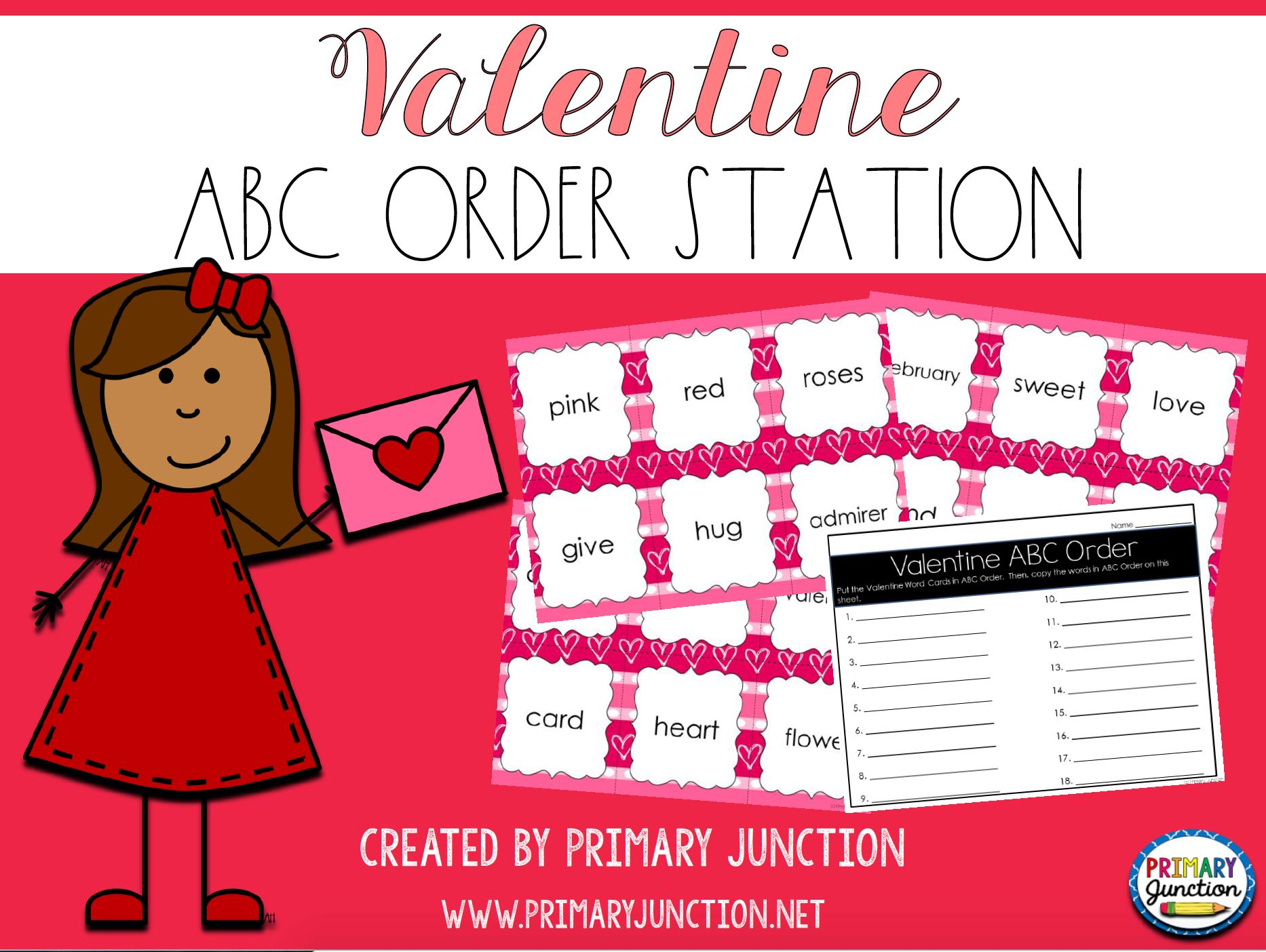valentine valentine's day february abc order literacy station center