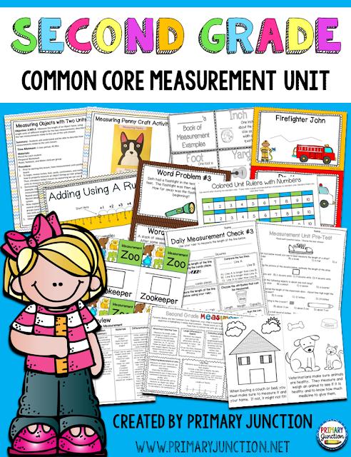 second grade common core measurement unit math center stations assessment homework craft game