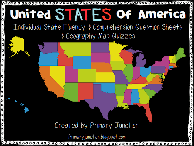 United States reading passages text comprehension questions map quiz geography social studies history
