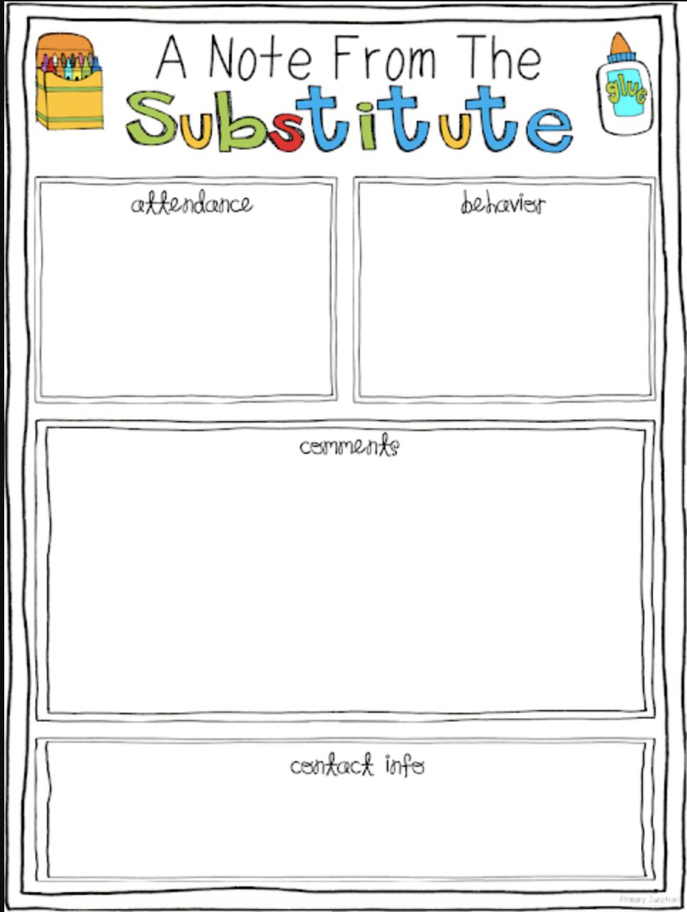 substitute teacher feedback form free