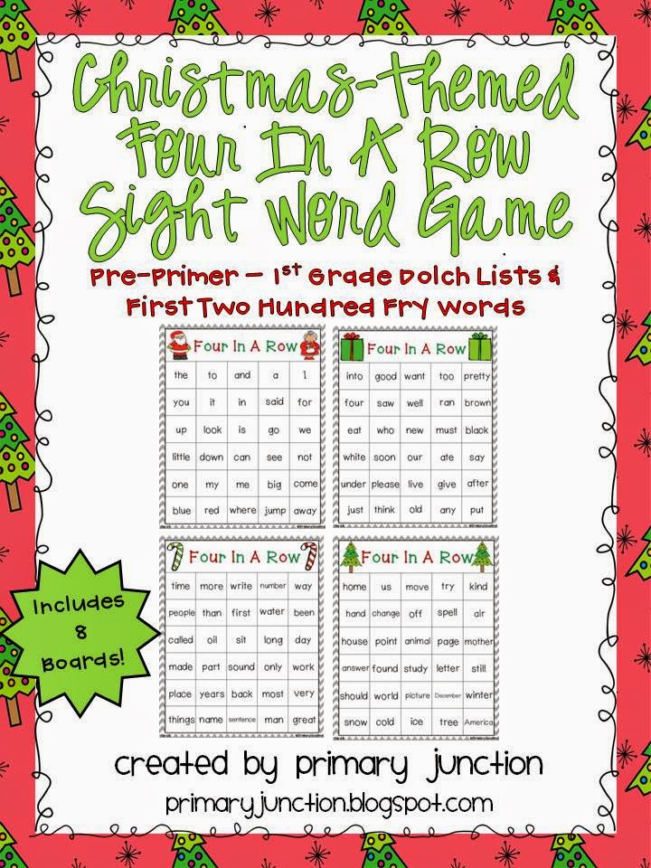 christmas four in a row game sight words Dolch literacy center station Kindergarten First Grade 1st