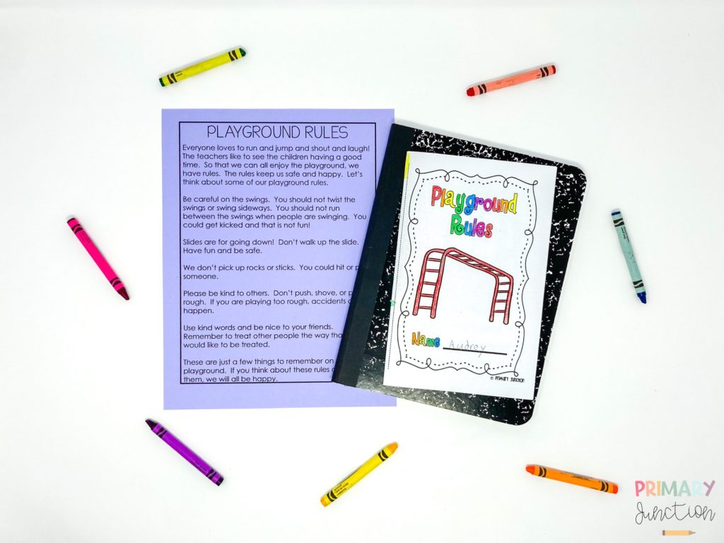 Free Book Emergent Reader for Teaching Primary Students Playground Rules at Beginning of School Year Reading Passage 1st First Grade 2nd Second
