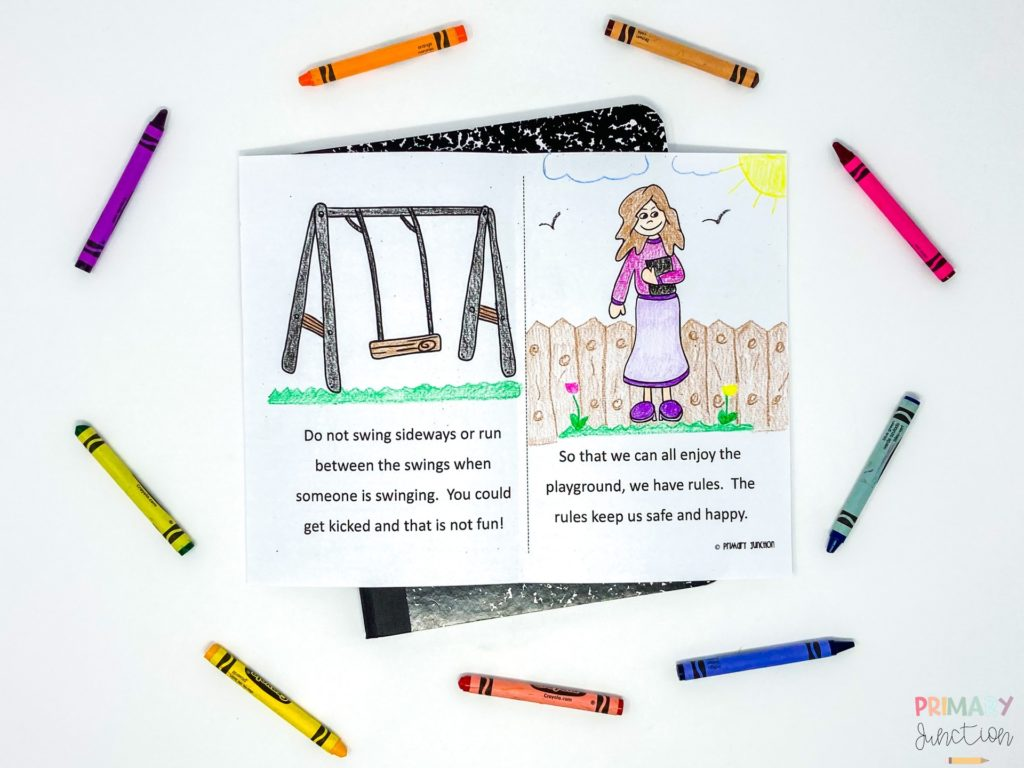 Free Playground Reader and Reading Passage to teach Playground Rules Back to School Beginning of School Year First Grade Second Grade